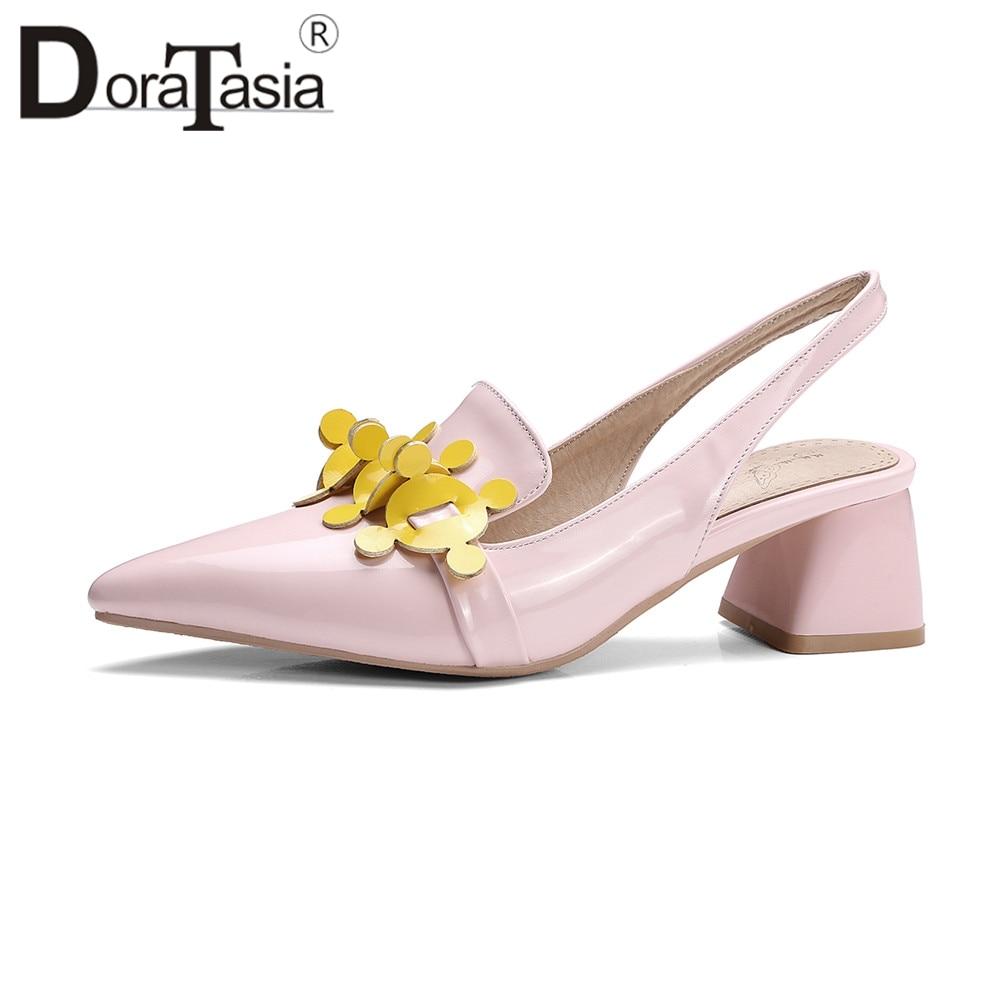 DoraTasia Brand New Big Size 34-43 puntiagudo flor tacones medios cuadrados zapatos mujer Casual Oficina verano bombas Rosa rojo