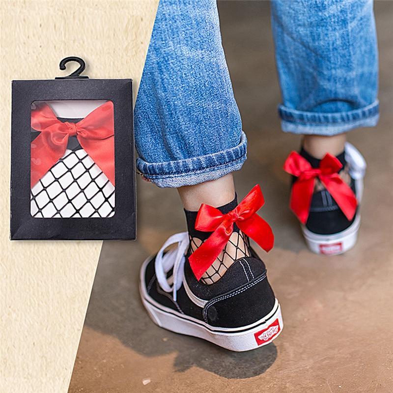 1 пара, женские ажурные носки до щиколотки с рюшами, Короткие кружевные носки с бантиком и сеткой, белый/черный/красный цвет