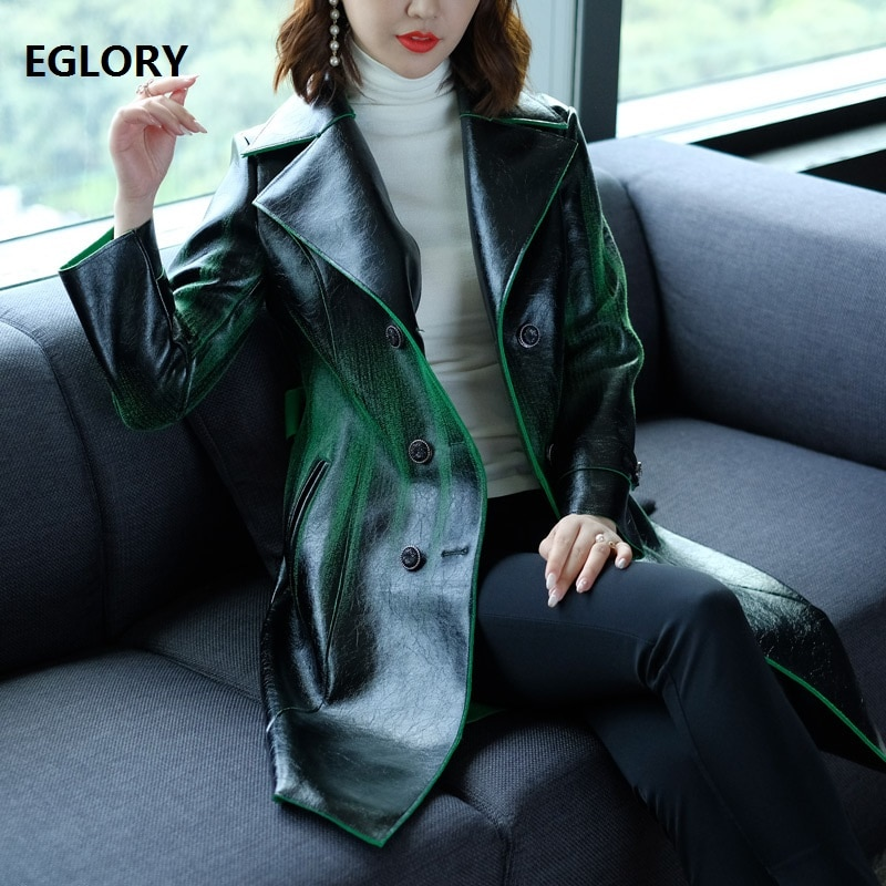 High Quality PU Leather Coat New 2020 Autumn Winter Women Leather & Suede Outerwear Coat Plus Size XXXXL Coat Overcoats Female enlarge