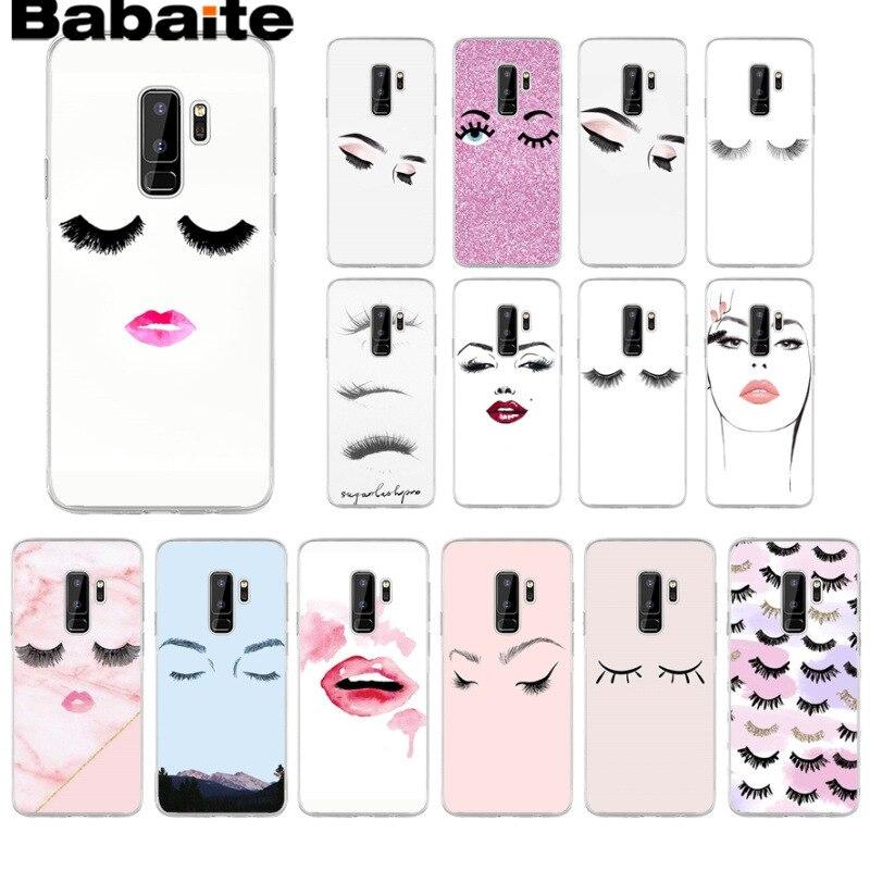 Babaite pestañas maquillaje labio cliente negro silicona suave teléfono funda para Samsung Galaxy s9 s8 plus note 8 note9 s7 s6edge coque