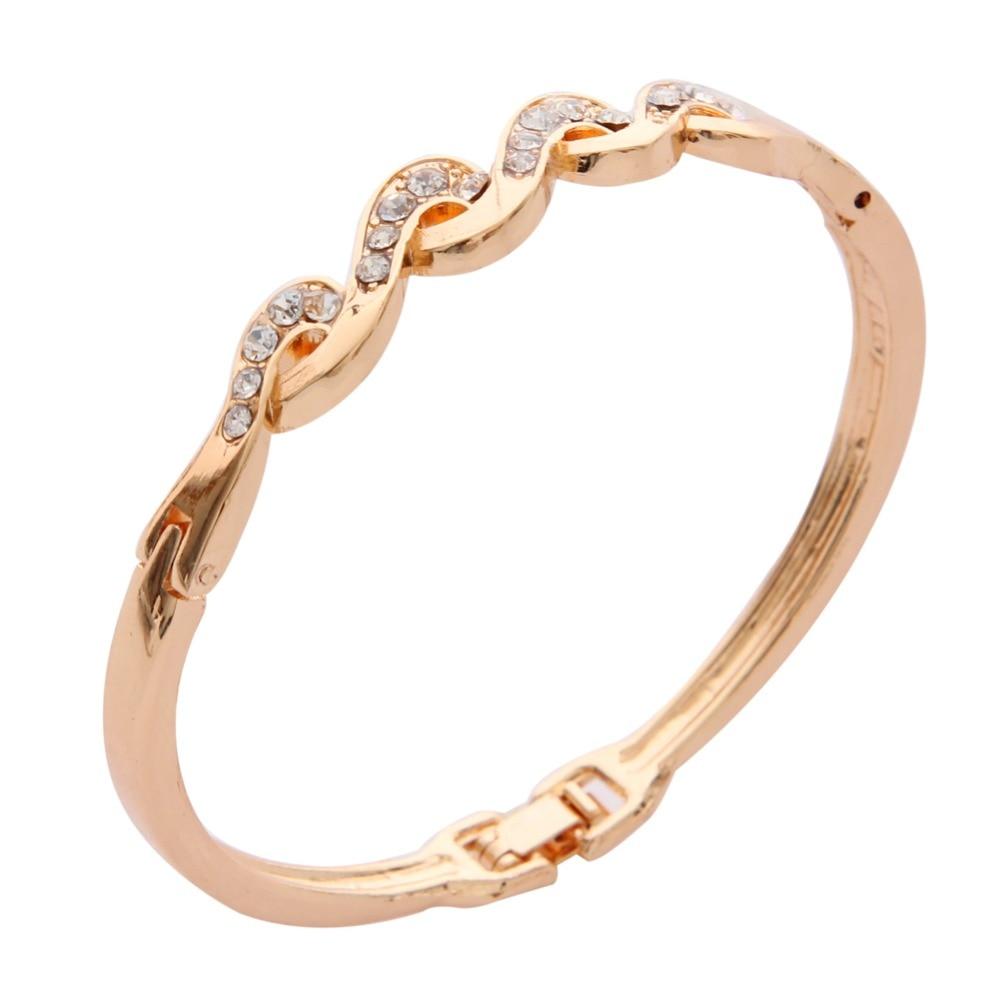 Nueva moda 2020 Zirconia cúbica joyas brazalete con piedras Color dorado encanto CZ cristal mujer brazalete pulseras para mujer