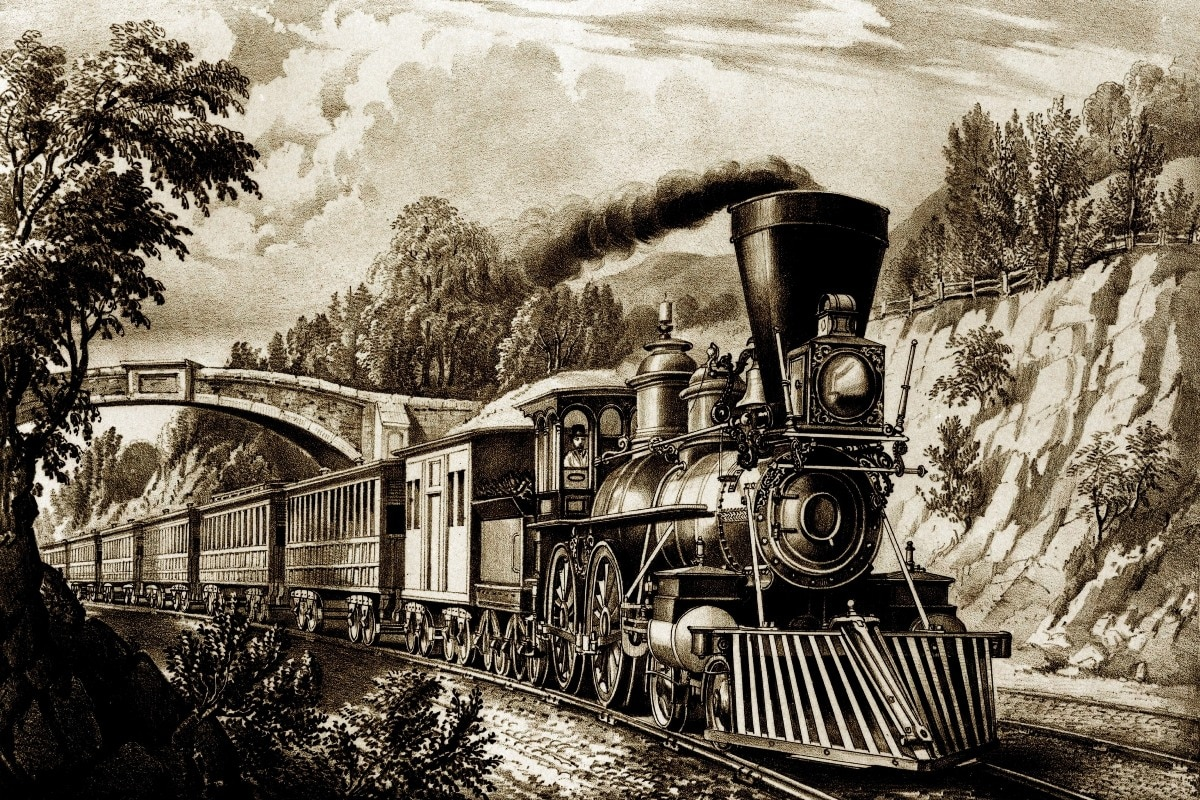 Póster de tela impresa a medida (marco disponible) Tren carro locomotor historia retro PHC085 arte de pared decoración de habitación decoración del hogar