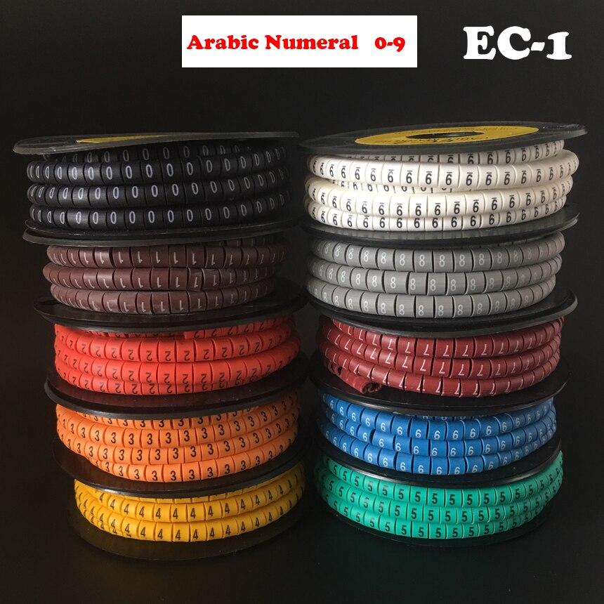 1000 unids/lote EC-1 2,5mm2 0-9 patrón de impresión de letras PVC manguito árabe Flexible de números Etiqueta de tubo cóncavo Cable de red marcador de Cable