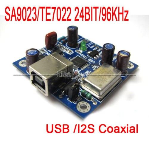 NOVO 1 PC SA9023/TE7022 24BIT/96 KHz USB para coaxial/Saída I2S Board para Raspberry Pi