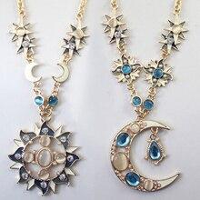 Meilleure qualité femmes mystique soleil lune décoration alliage strass Long pendentif collier chaîne bijoux décor accessoire cadeau