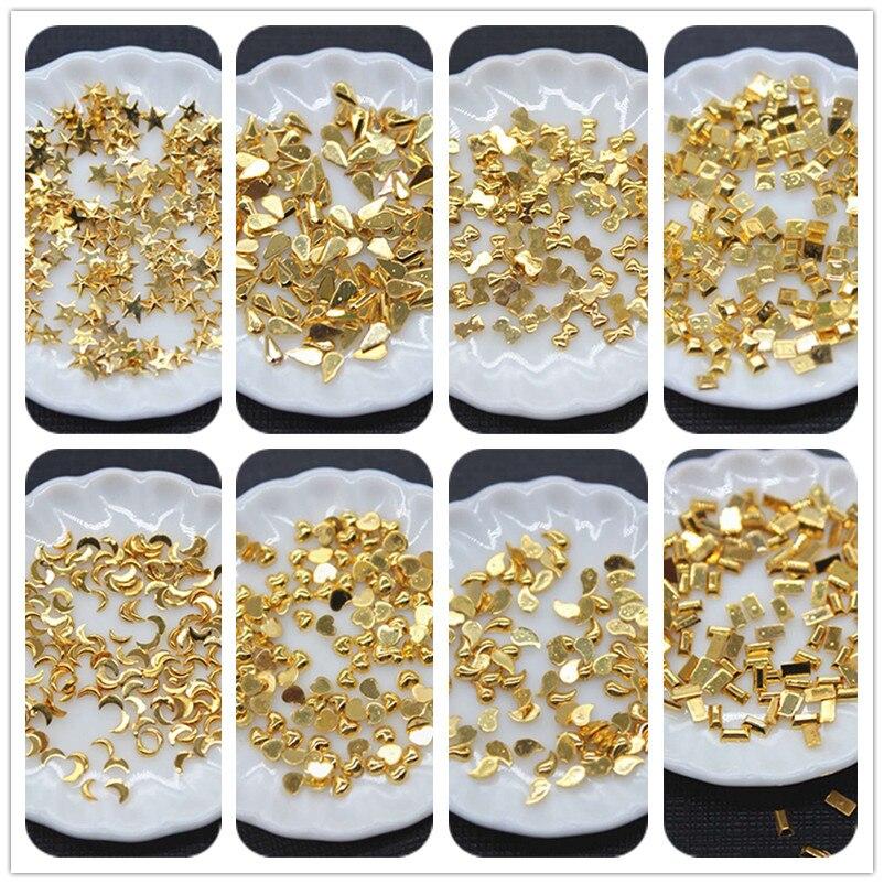 2000pcs 3mm/4mm Shiny Golden Acrylic Rhinestone Star/Moon/Heart Flatback Cabochon Art Supply Decoration Charm Craft DIY