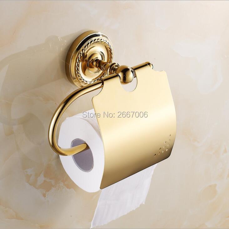 شحن مجاني 2 قطعة الكثير حديثا الترويجية فندق هدية الذهب تصفيح المرحاض ورقة حامل اكسسوارات الحمام المنتجات ZR2023