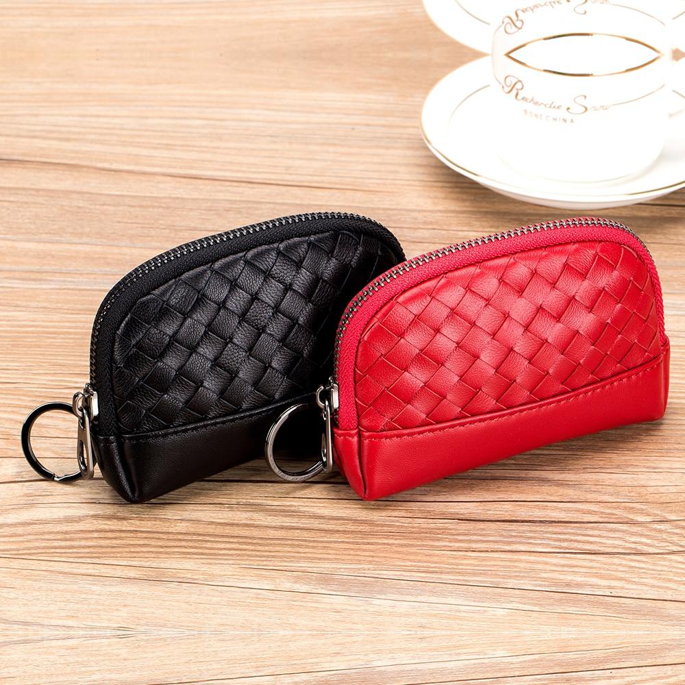 EASTNIGHTS leather Coin Purse Women Genuine leather custom Mini Zipper felt coin Wallet knitting card Holder keychain