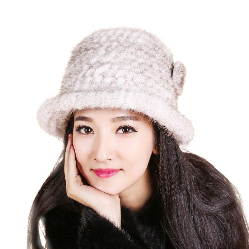 Women Russian Women Natural Fur cap Luxury knit mink fur hat winter fur hat Women gift hat
