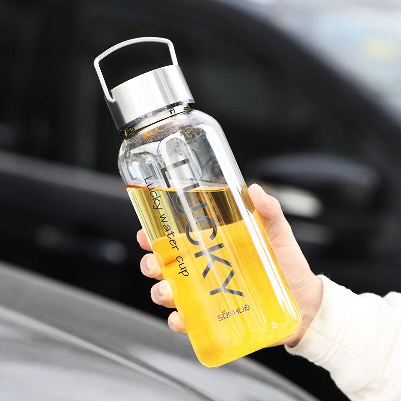 Gran oferta de botella de agua de cristal de 1800ml para deportes al aire libre, botella de agua de gran capacidad, Infusor de té de acero inoxidable 304 para deporte, manga de botella