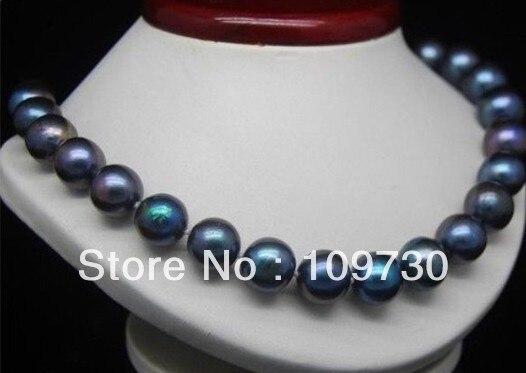 "Joyería 001487 real natural AAA 11-12mm collar de perlas negras 18 ""14 k"