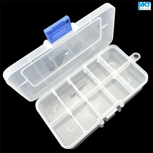 10 unids 132mm * 68mm * 22mm polipropileno PP Herramientas contenedor caja de almacenamiento, caja de IC, DIY electrónica Herramientas
