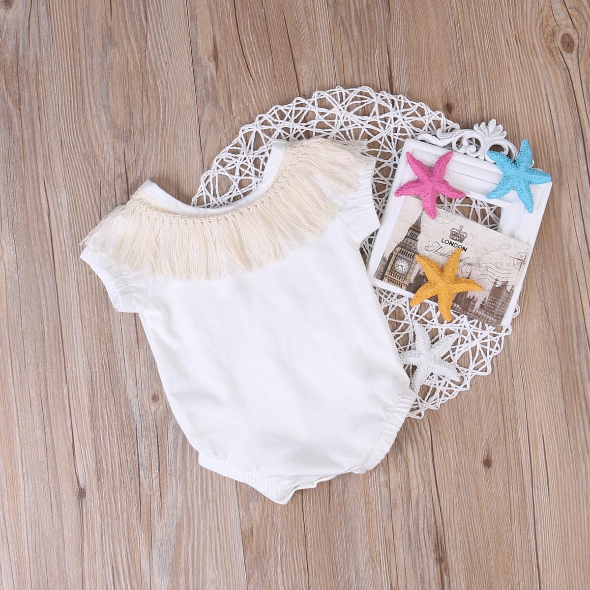 Mono sin mangas con borlas para bebés recién nacidos, ropa de verano para niñas, Mono Blanco de algodón CXD0