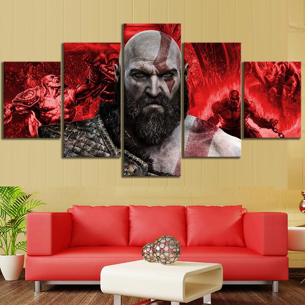 Lienzo decoración del hogar pintura 5 Set dios de la guerra Kratos juego Modular Cuadros pared arte impresión moderna HD póster Cuadros para sala de estar