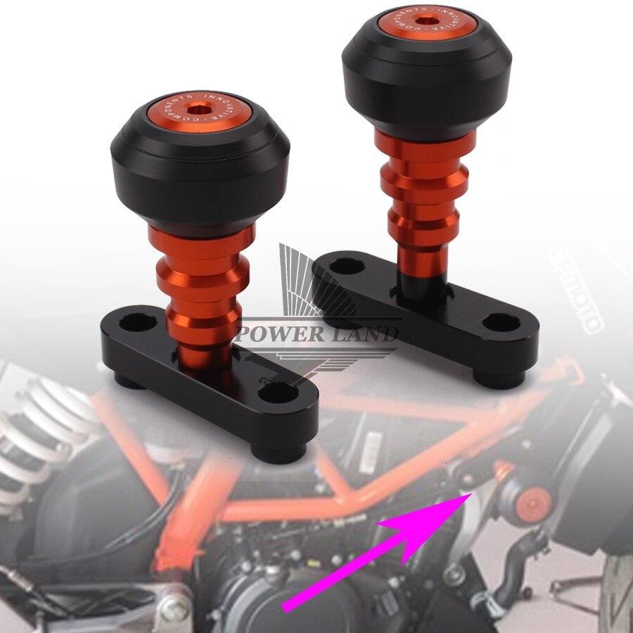 1 par de la motocicleta deslizadores de marco de accidente Protector Sturzpad brazos fijos para KTM Duque 125, 200, 390, 2011, 2012, 2013, 2014, 2015 2016