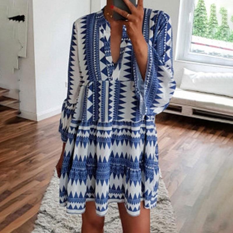 Women Summer Dress Flare Sleeve V Neck Boho Short Ladies Dresses 2019 Plus Size 4XL 5XL Evening Party Beach Vestidos Sundress