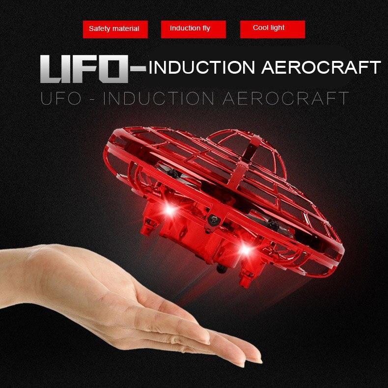 Inducción de mano de pelota de OVNI LED Mini RC Drone Suspensión de luz avión juguetes voladores bolas Anti-colisión para la diversión de los niños