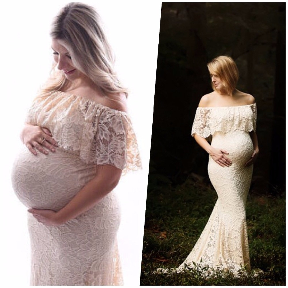 2020 New Style Maternity photography props Cotton Maternity Lace Dress Mermaid Fancy Photo Shoot pregnant dress enlarge