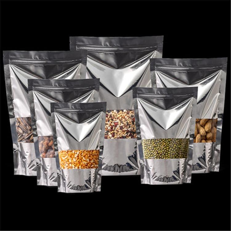 Venta al por mayor 100 Uds. Bolsa con cierre y ventana de papel de aluminio plateado brillante bolsa de embalaje de regalo de café y Chocolate en polvo de plástico plateado