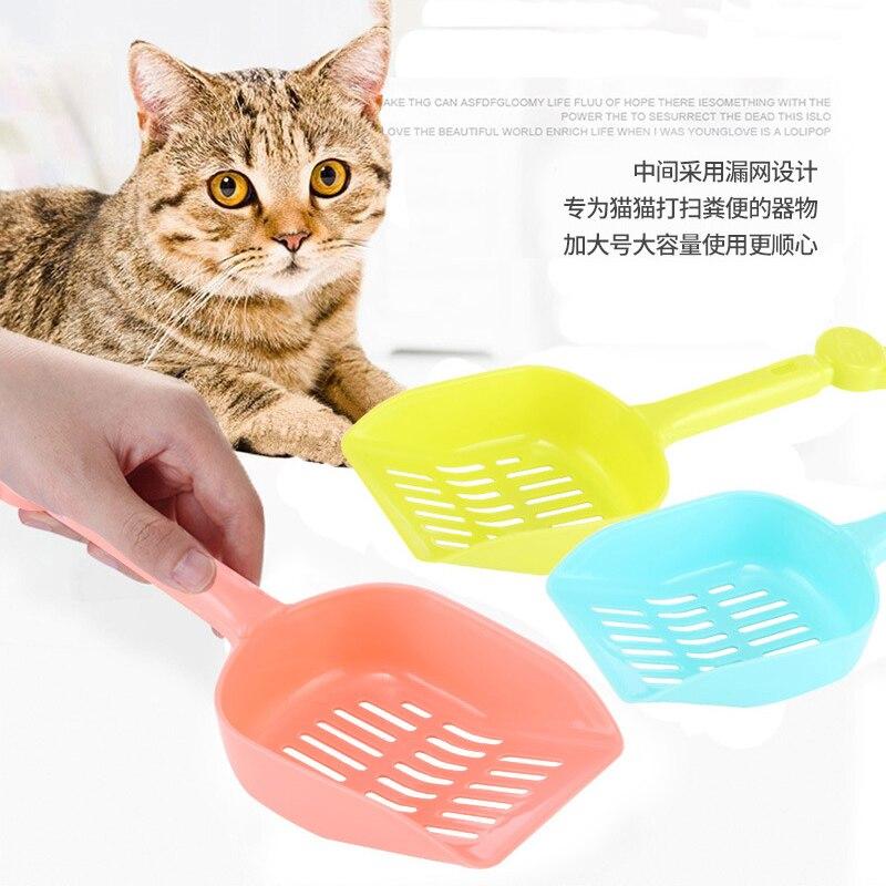 Grueso gato pala herramienta de limpieza para mascotas de plástico gato arena aseo limpieza cucharas gato pala para excrementos bandeja para desperdicios