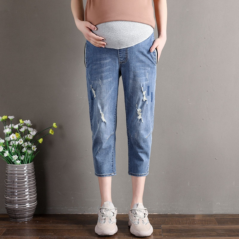 L-5XL Maternity Clothes Pregnant Woman Ripped Jeans Maternity Pants Trousers Nursing Prop Belly Legging Pregnancy Embarazada enlarge