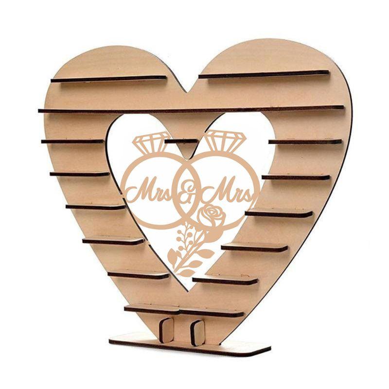 Pan i pani diamentowy pierścionek wzór drewniane ozdoby czekoladowe stoisko cukierki Cupcake wyświetlacz desery uchwyt Home Decor Wedding Party bary