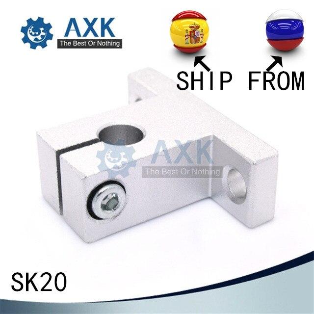 4 unids/lote SK20 20mm rodamiento lineal soporte de eje de carril XYZ Mesa CNC Router SH20A Barco de Rusia y España