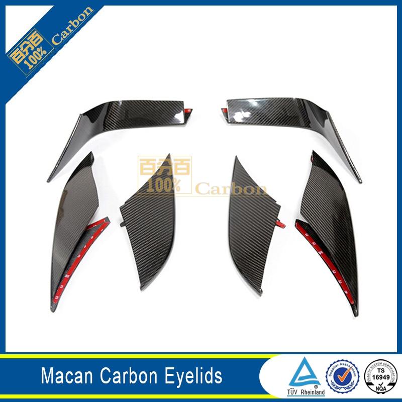 For Porsche Macan Carbon Fiber Front Fog Lamp Cover Trims Side Mesh Grille