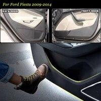 4pcs new interior carbon fiber doors side edge anti kick protection pad sticker for ford fiesta 2009 2014