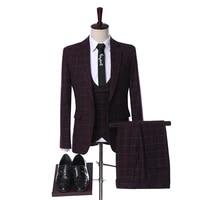 2019 wool burgundy plaid herringbone retro gentleman style custom made men groom wedding suits blazer suits for men 3 pieces