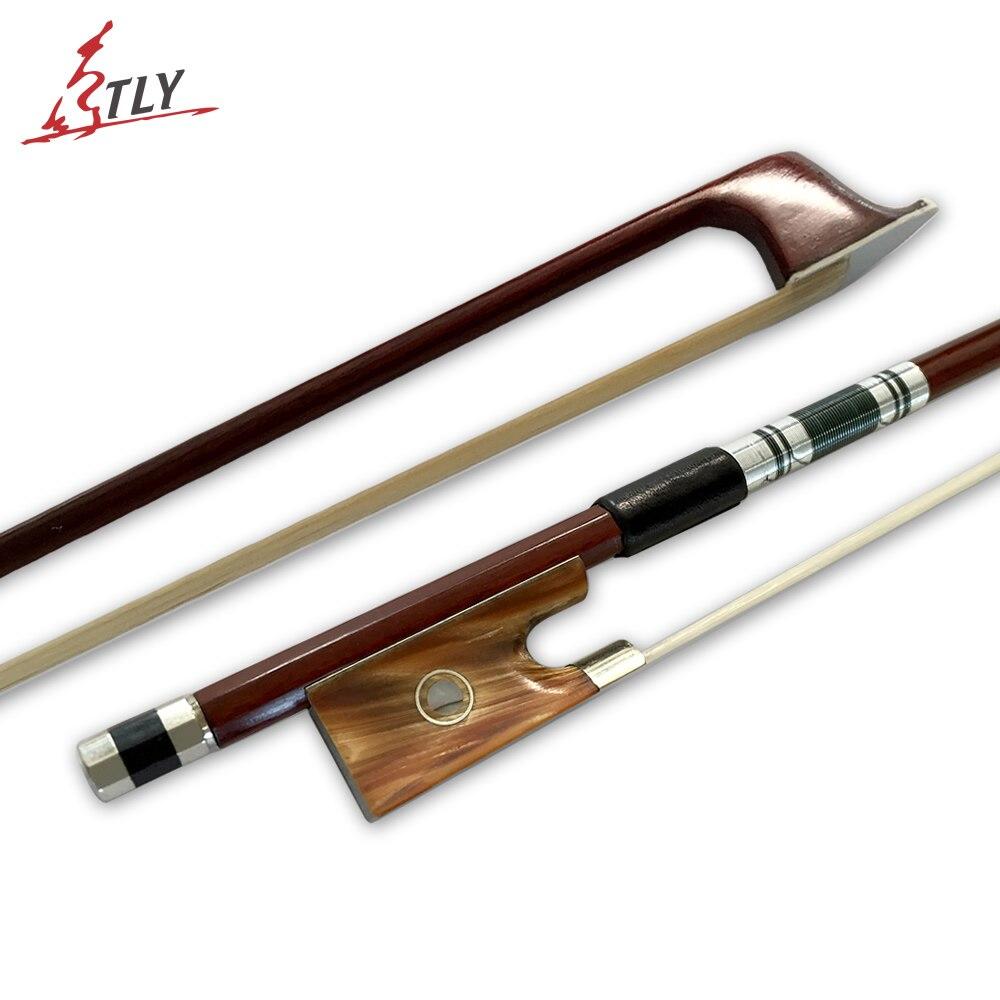 TONGLING 4/4 violín arco buey cuerno Rana con cáscara de color pelo de caballo Brazilwood violín arco piezas de violín