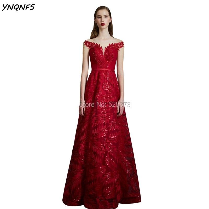 YNQNFS ED152 Normcore-فستان سهرة أحمر ، فستان سهرة طويل ، كرة ، أكمام قصيرة ، متلألئة ، أم العروس ، مجموعة 2019