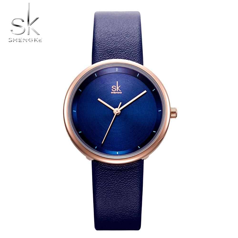 Shengke marca superior relojes de lujo para Mujer Reloj Simple Woemn Relojes de Cuero moda SK señoras Reloj Mujer Zeagrek Dmaski