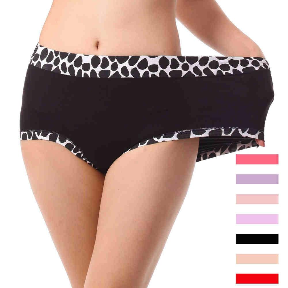 2Pcs/lot Bamboo Stone Pattern Underwears Women Panties Plus Size 6XL Sexy lingeries womens briefs