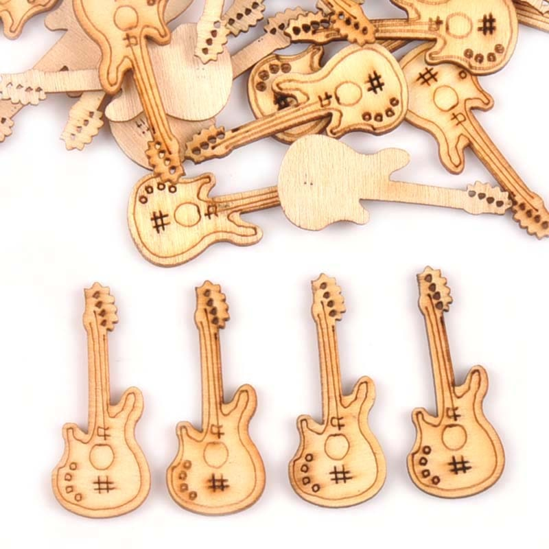 New Natural Wooden Ornaments Guitar Die Cutting Plywood Template For DIY Crafts Scrapbooking 50Pcs 15x36mm Wood Decoration m1776