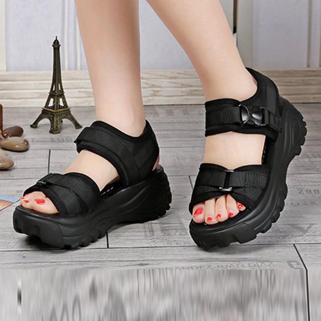 Sagace 2019 novo verão simples menina encostas de sola grossa pasta mágica muffins casuais sapatos femininos roman sandálias esportivas ao ar livre j10