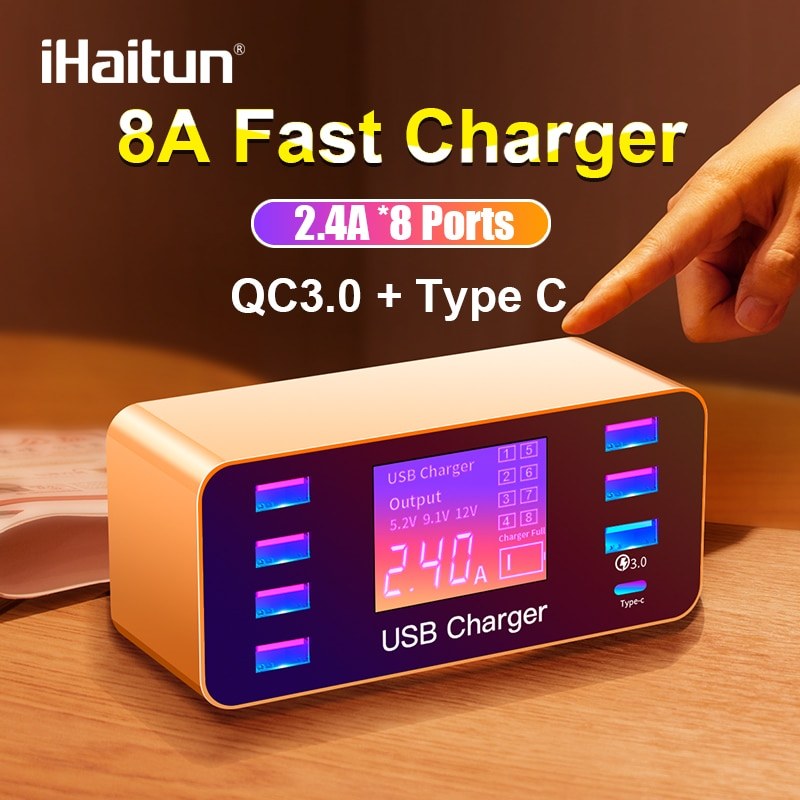 Ihaitun conduziu 8 portas 8a 40 w qc 3.0 carregador usb tipo c rápido carregador de telefone móvel inteligente para iphone x xs samsung s10 huawei p30 pro