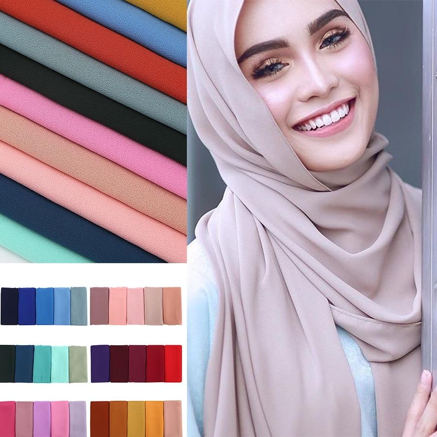 Жіночий однотонний шарфовий шифоновий шарф, худжаб з набивним принтом, однотонні хустки, пов'язка на мусульманські хіджаби, шарфи 60 кольорів