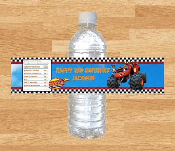 Индивидуальные персонализированные Блейз и монстр машины бутылки воды этикетки обертки день рождения украшения Дети конфеты бар