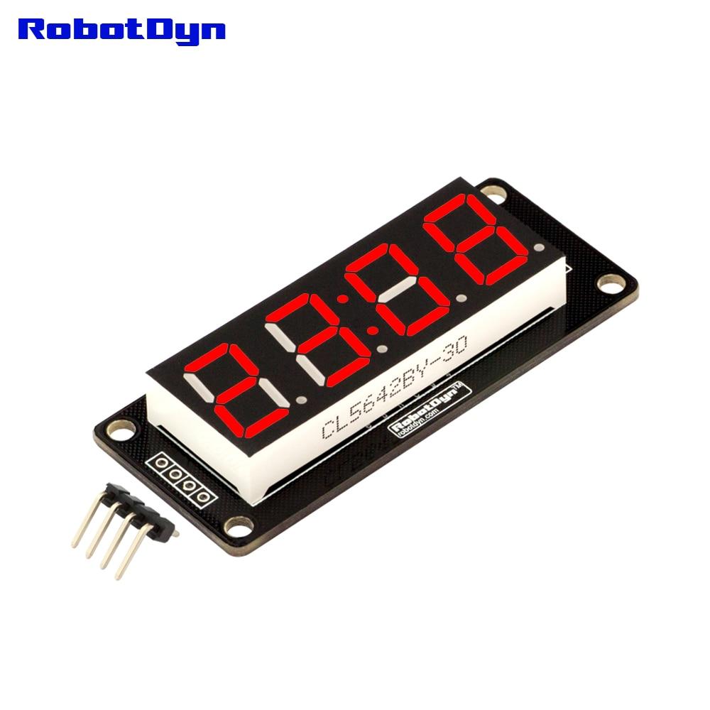 "4-Digit LED 0.56"" Display Tube (clock, colon), 7-segments RED, TM1637, disp. size 50x19mm"