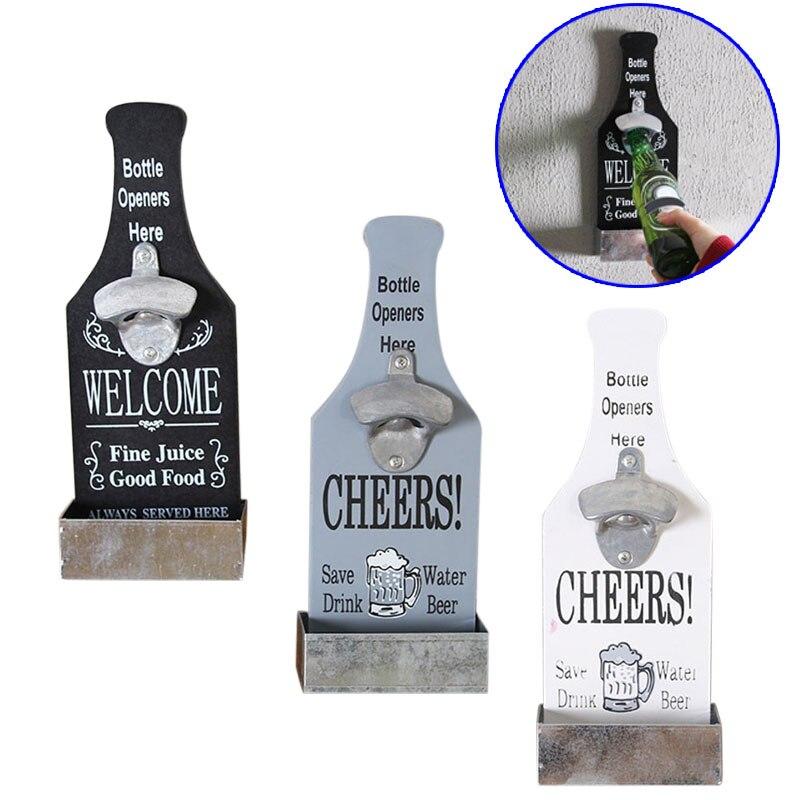 Abridor de garrafa criativo abridor de cerveja fixado na parede abridores garrafa de madeira do vintage restaurante decoração para casa barra ferramentas