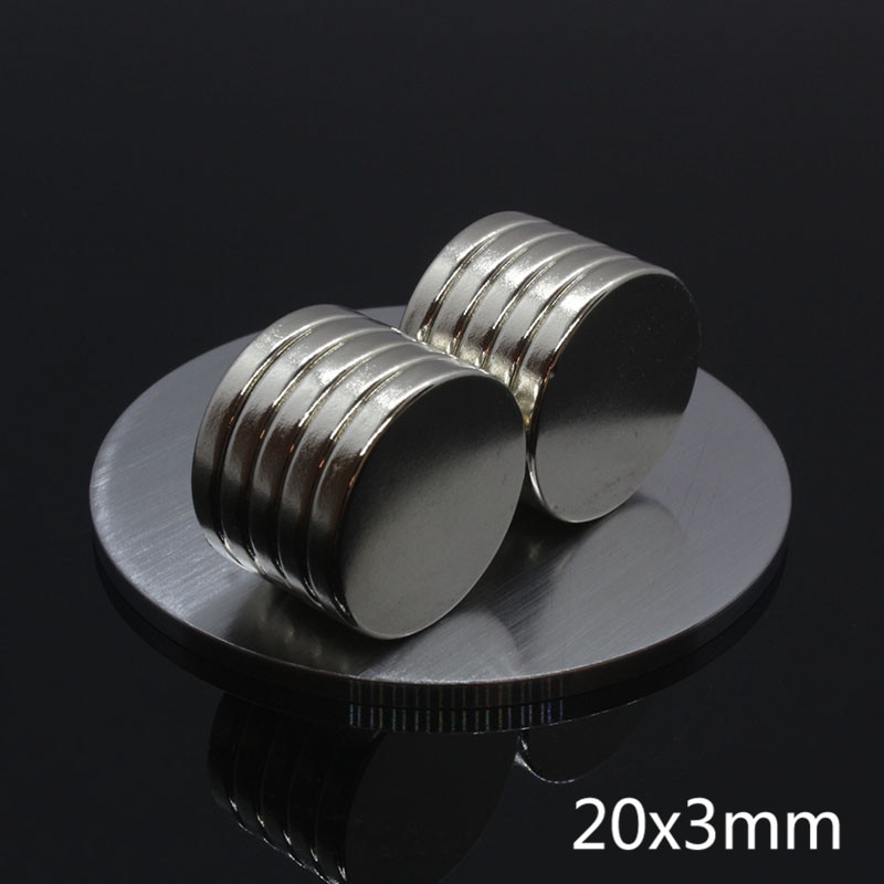 20 pièces fort puissant aimant néodyme 20x3mm terre Rare petit fort rond permanent 20*3mm NdFeB nickel disque magnétique