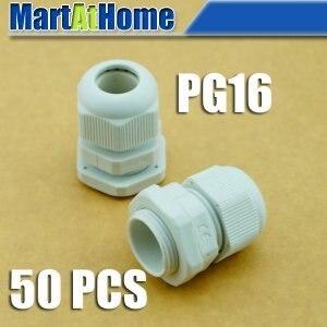 50 шт./лот PG16 водонепроницаемый нейлоновый разъем PG кабельный ввод Dia. 10 ~ 14 мм белый