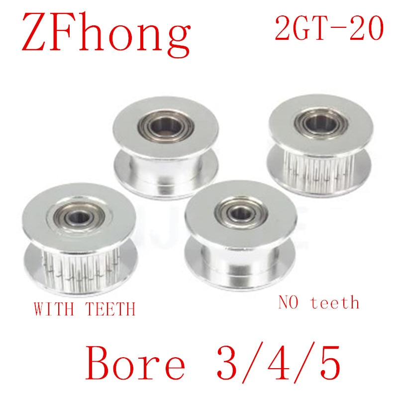 2GT 20 Teeth synchronous Wheel Idler Pulley Bore 3mm 4mm 5mm 8mm with Bearing for GT2 Timing belt Width 6MM
