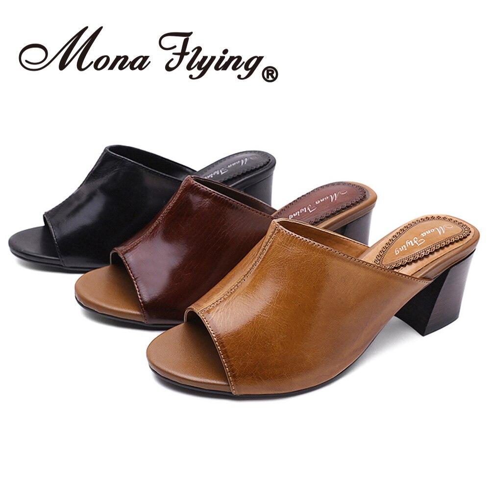 منى تحلق المرأة كتلة جلد طبيعي كعب البغال قباقيب عادية عالية الكعب المفتوحة تو الصنادل أحذية مفتوحة للسيدات 3188-19