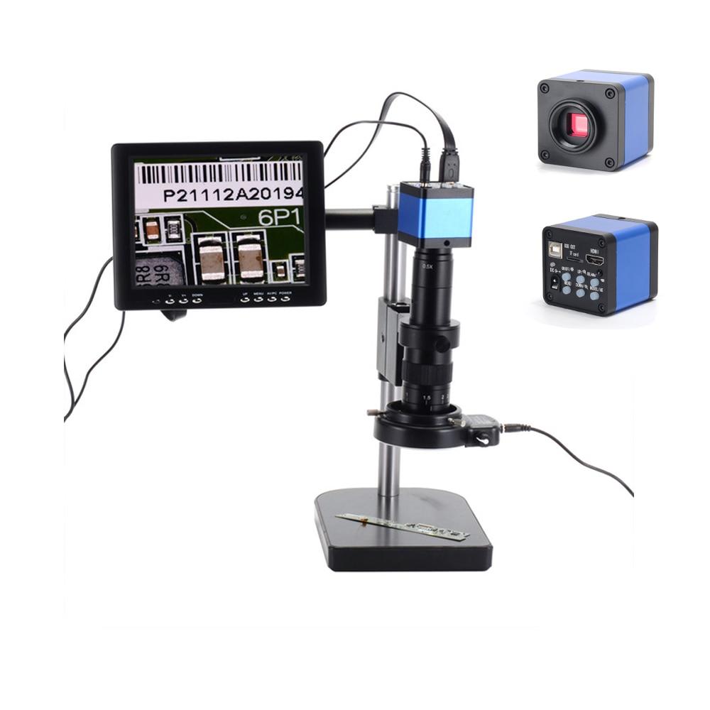 """HAYEAR 16MP microscopio Kit de cámara Industrial USB HDMI Video Digital 180X C-mount de la lente 8 """"HD LCD de 60 LED de luz para PCB de soldadura"""