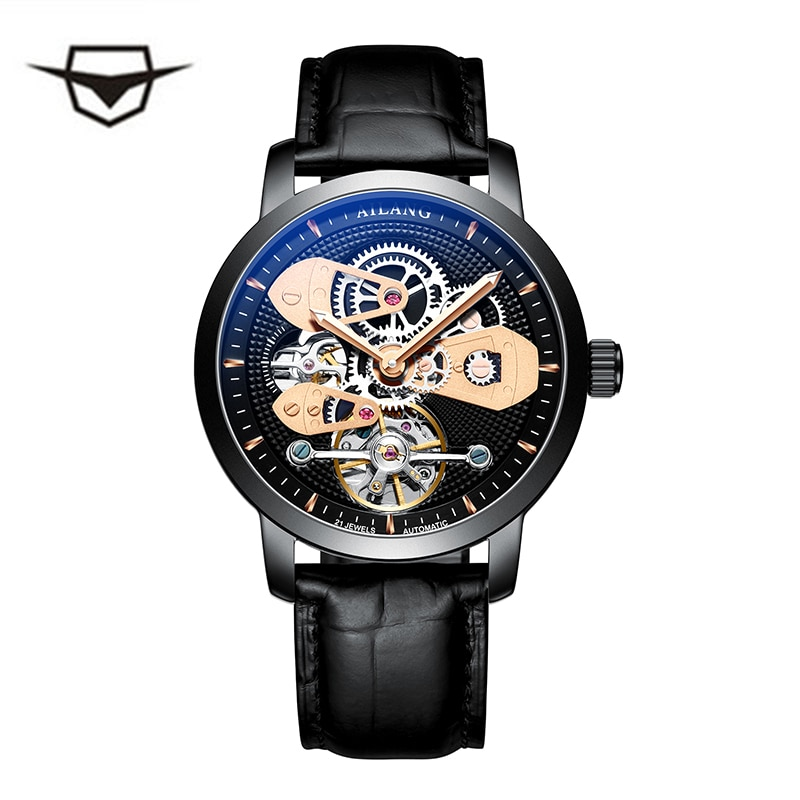 Swiss watch AILANG original top luxury men's automatic mechanical watch hollow gear sport 50M waterproof watch leather business