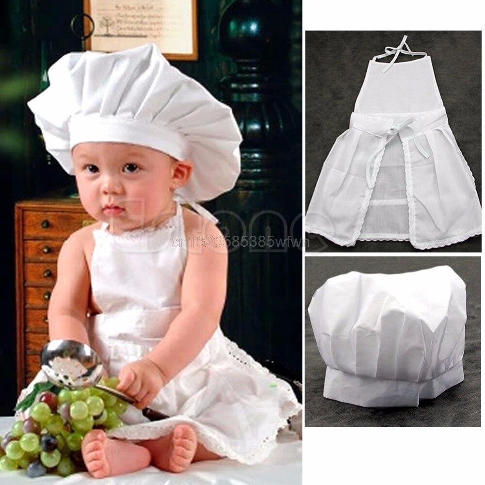 Bonito disfraz blanco de cocinero para bebé utilería para fotografías gorro de bebé recién nacido delantal # HC6U # triangulación de envío