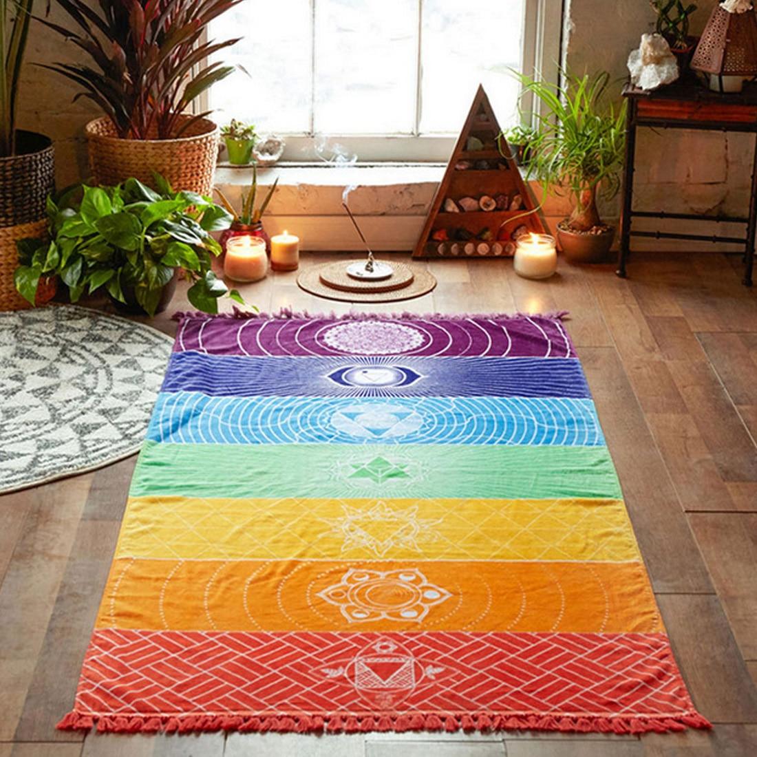 Polyester Bohemia Wall Hanging India Mandala Blanket 7 Chakra Colored Tapestry Rainbow Stripes Travel Beach Yoga Mat