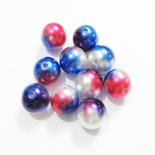 Neueste 20mm 100 pcs/lot Rot/Dunkelblau/Weiß Bunte/Konfetti Acryl Imitation Perle Perlen für Chunky Kinder Schmuck Machen